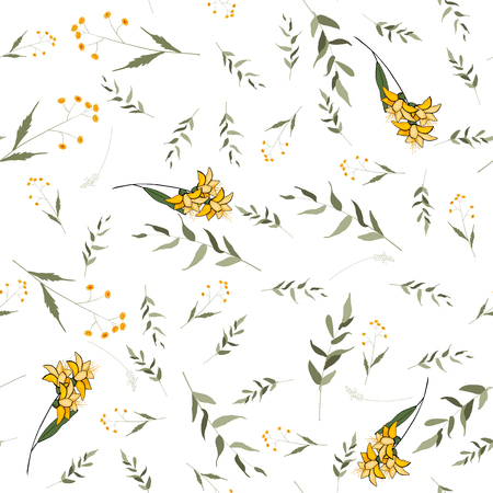 Bohemian flowers pattern of lily. Seamless floral hand drawn mix. Vector illustration 写真素材 - 119404903