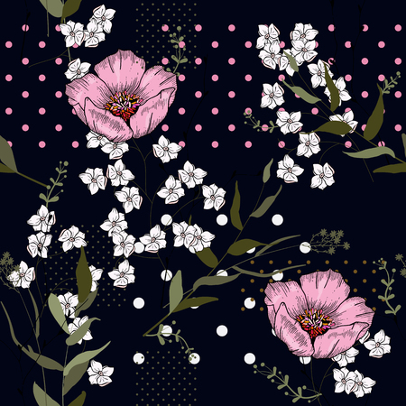 Modern memphis pattern with hand drawn wild flowers. Geometric seamless print polka dots design vector illustration  イラスト・ベクター素材