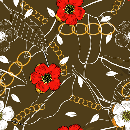 Chains botanical seamless pattern with flowers and plants. Modern floral design. Hand drawn vector illustration
