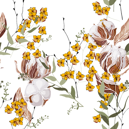 Retro wild seamless floral cotton pattern. Vintage background blooming realistic isolated flower print. Hand drawn vector illustration.  イラスト・ベクター素材