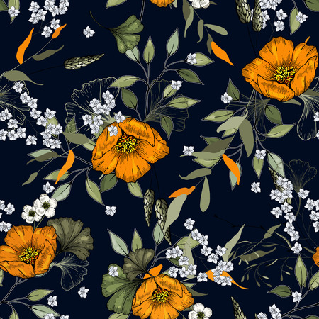 Freehand flowers seamless pattern with wild plants. Botanical background. Hand drawn vector illustration