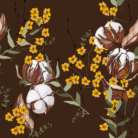 Retro wild seamless cotton floral pattern. Vintage background blooming realistic isolated flower print. Hand drawn vector illustration.  イラスト・ベクター素材