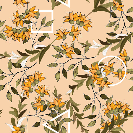 Trendy floral pattern. Isolated seamless print. Vintage background.  イラスト・ベクター素材