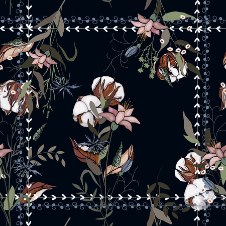 Scarf pattern seamless floral pattern with cotton. Wallpaper blooming realistic isolated flowers hand drawn vintage background. Vector illustration.  イラスト・ベクター素材
