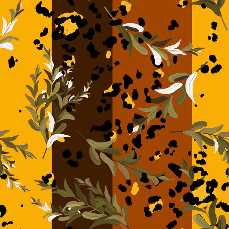 Modern animal skin prints and flower hand drawn seamless pattern.  イラスト・ベクター素材