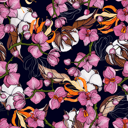 Trendy seamless floral cotton pattern. Vintage background. Blooming realistic isolated flowers. Hand drawn vector illustration.