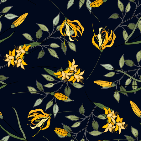 Japanese garden seamless pattern spring Asia flowers. Hand drawn floral vector illustration  イラスト・ベクター素材