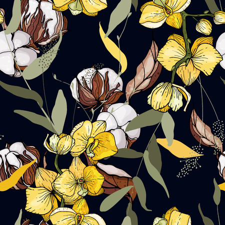 Japanese garden cotton seamless pattern spring Asia flowers. Hand drawn floral vector illustration