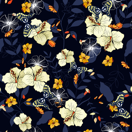Paradise flowers. Realistic isolated seamless floral pattern. Hand drawn vector illustration.