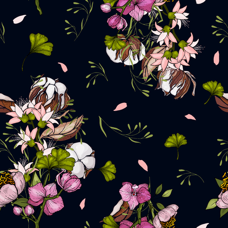 Trendy floral pattern. Isolated seamless cotton  print. Vintage background.