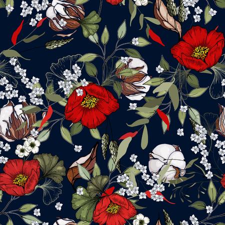 Folk flowers. Seamless floral pattern. Modern cotton botanical background. Hand drawn vector illustration  イラスト・ベクター素材