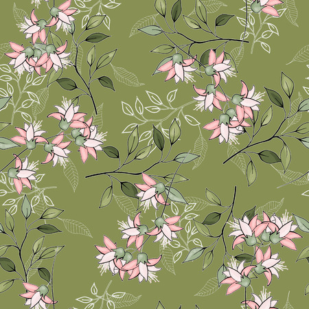 Abstract floral drawing. Realistic isolated seamless flowers pattern. Vintage set. Hand drawn vector illustration.
