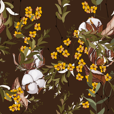 Fantasy florals seamless pattern. Wallpaper botanical vector illustration with hand drawn flowers