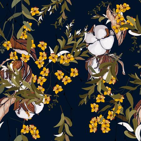 Folk flowers. Seamless floral pattern. Modern botanical background. Hand drawn vector illustration
