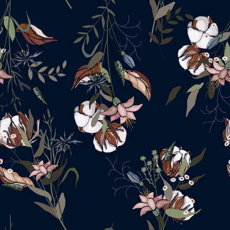 Freehand flowers cotton seamless pattern with wild plants. Botanical background. Hand drawn vector illustration