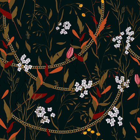 Chains botanical seamless pattern with flowers and plants. Modern floral design  イラスト・ベクター素材