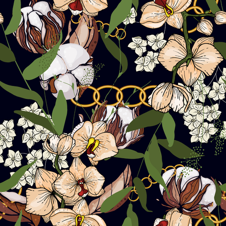 Chains botanical seamless pattern with cotton flowers and plants. Modern floral design. Hand drawn vector illustration
