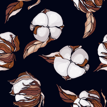 Flower pattern hand drawn style with set of seamless floral ornament cotton in vector