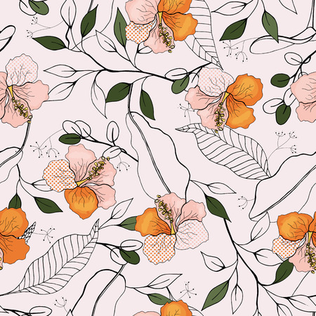 Flower pattern hand drawn style with set of seamless floral ornament in vector