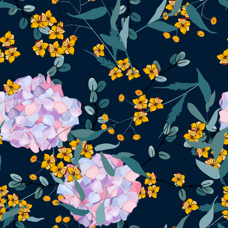 Mix flowers. Decorative hydrangea print, floral seamless pattern on spring blossom background. Jungle concept, vector illustration.