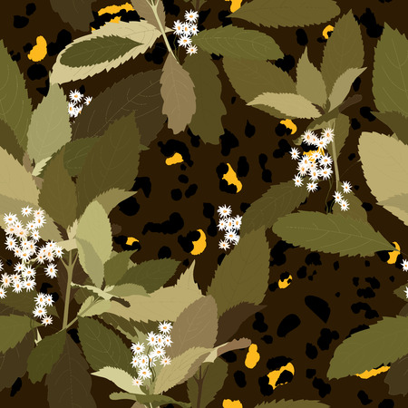 Jaguar illustration flower pattern for wallpaper design. Abstract fashion style seamless background. Vector floral print.  イラスト・ベクター素材