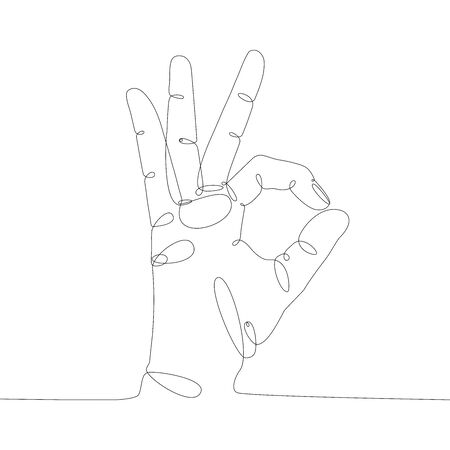 Trendy one line drawing art. Black continuous icon contour  of ok gesture on white background. Minimalism, vector illustration. Stockfoto - 132095799