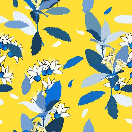 Memphis Indian template on yellow background. Hand drawn leaf and flower texture. Seamless floral pattern. Vector tropical print