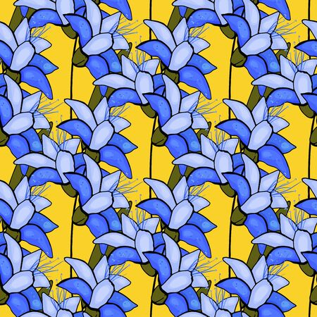 Trendy floral pattern. Isolated seamless print. Vintage blue and yellow flowers background.  Hand drawn vector illustration.
