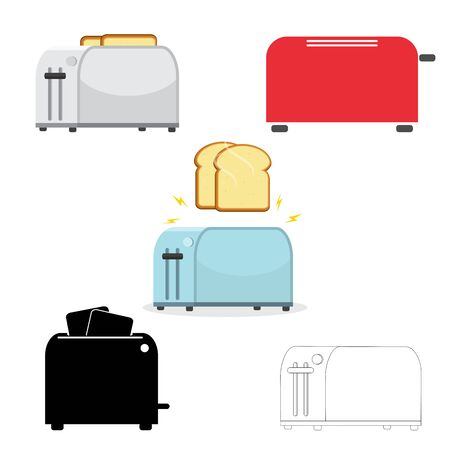 Set of toasters. Illustration on white background. Electric household isolated equipment. Vector Stockfoto - 132095814