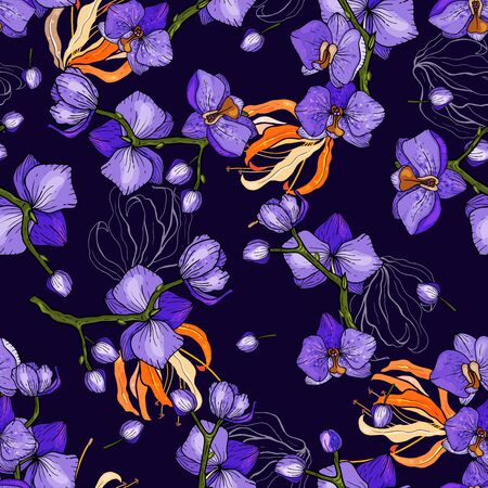 Trendy floral pattern with purple orchids. Isolated seamless print. Vintage background.  Hand drawn vector illustration.