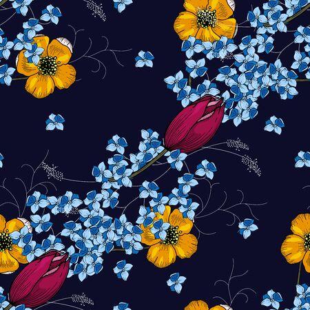 Rustic seamless pattern on dark background. Stylized art. Vector floral template  イラスト・ベクター素材
