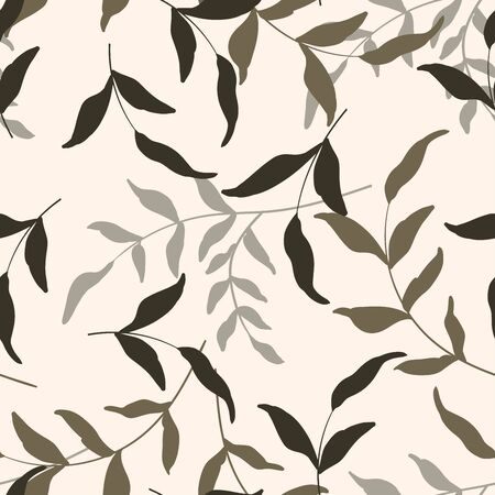 Vector tropical leave wallpaper. Modern abstract hand drawn floral illustration on light backdrop. Flower seamless pattern.