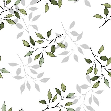 Green leave on white background. Hand drawn floral seamless pattern. Abstract vector illustration