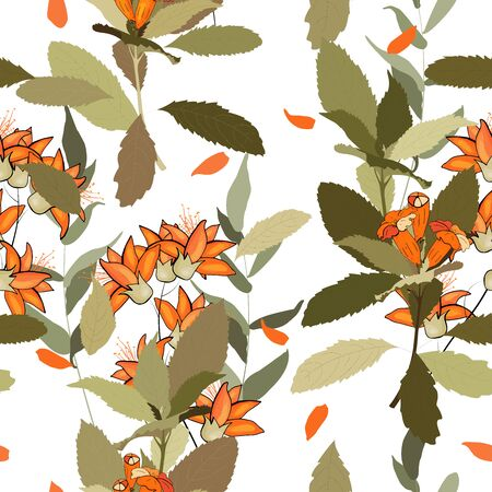 Bohemian garden with wild orange flowers in hand drawn style. Vintage boho seamless pattern, bouquet decoration. Cute vector floral design