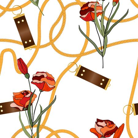 Ð¡hain seamless vector pattern on white background with fashion floral design. Vintage gold jewelry of necklace and rustic ropes, tassels and belts with leaves and roses.