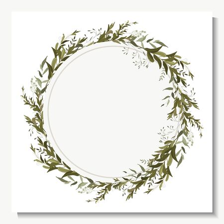 Summer hand drawn green eucalyptus, fern, chamomile, isolated template vector illustration. Greenery wreath in watercolor style, vintage geometric frame with leaves, foliage and botanical wedding elements.