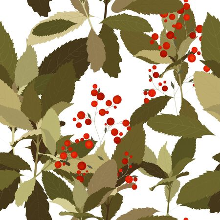 Green leave and red berries on white background. Hand drawn floral seamless pattern. Abstract vector illustration