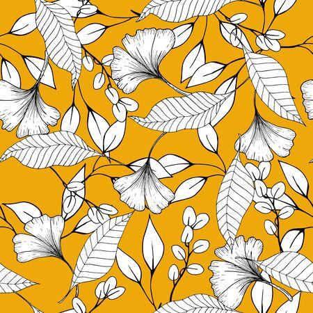 Feuilles vintage rustiques et motif sans couture de fleurs esquissées à la main sur fond jaune. Illustration vectorielle botanique de petit modèle floral peint et éléments de dessin de contour