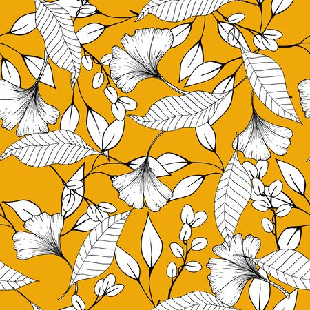 Rustic vintage leaves and  hand sketched flowers seamless pattern on yellow background. Botanical vector illustration of painted small floral template and outline drawing elements Stock Illustratie