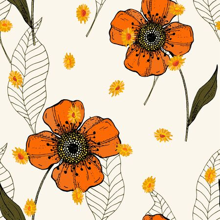 Romantic orange leave hand drawn seamless pattern, doodle texture. Autumn garden, foliage falls endless concept. Sketched golden and yellow plants or herbs collection on white background.