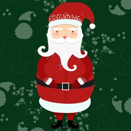 Jolly cartoon Santa Clause. Christmas and New Year concept vector illustration and greeting card in cartoon style