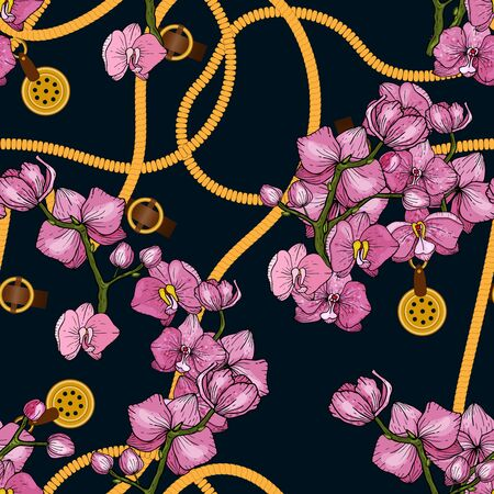 Trendy golden  chain print in vintage style hand drawn vector illustration on dark background. Ornate jewelry decorative accessory and sketched orchids botanical seamless pattern. Stock Illustratie
