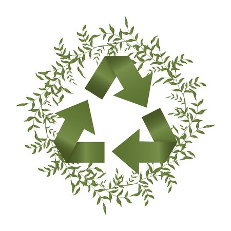 Concept of global garbage reuse, reduce, paper recycle vector banner. Green circular isolated arrows or icon image on herbal wreath. Eco, bio and nature protection graphic elements with plant Stock Illustratie