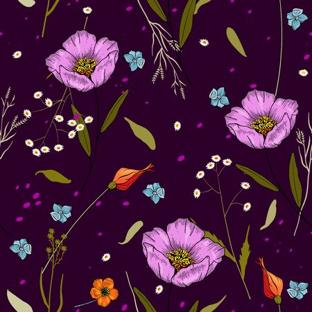 Retro wild hand drawn seamless pattern or wallpaper with spring or summer  meadow blossom flowers. Vintage  floral textile print and small ditsy elements, isolated feminine vector illustration