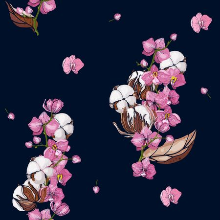 Trendy floral pattern with pink orchids and cotton flowers. Isolated seamless print. Vintage background.  Hand drawn vector illustration. Stockfoto - 136087008