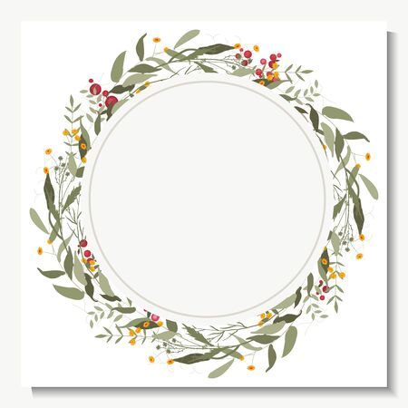 Rustic green wedding wreath, border or frame in watercolor style. Hand drawn trendy greenery and garden flowers bouquets. Bohemian  romantic decor, vintage botanical composition for invitation and greeting cards. Stock Illustratie