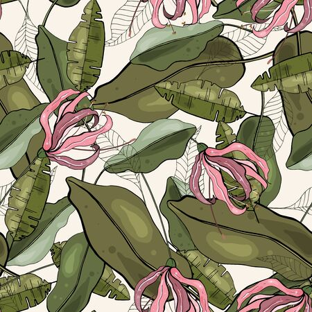 Banana tropical pattern with hand drawing green exotic foliage and pink hawaii flowers in abstract style. Seamless graphic texture on light background. Summer beach or jungle art print