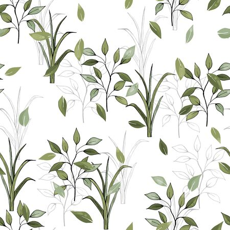 Nature floral background greenery pattern in hand drawn watercolor style. Vector foliage with jungle tropical leaf and summer flowers. Botanical hipster, rustic seamless print for wedding cards.