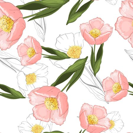 Rustic vintage green leaves and pink hand sketched flowers seamless pattern on white background. Botanical vector illustration of painted small floral template and outline drawing elements Stock Illustratie