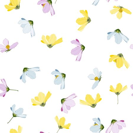 Trendy blooming  flowers. Realistic isolated seamless floral pattern. Vintage background with kosmey.  Hand drawn vector illustration.